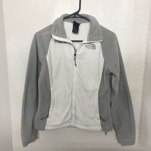 North Face White and Gray Fleece Jacket